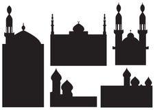 De silhouetten van de moskee royalty-vrije illustratie