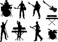 De Silhouetten van de musicus royalty-vrije illustratie