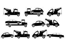 De silhouetten van de slepenvrachtwagen Royalty-vrije Stock Afbeeldingen