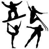 De Silhouetten van de Spelen van de winter. Stock Foto's