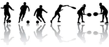 De silhouetten van de sport Stock Foto