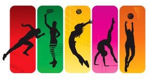 De silhouetten van de sport Stock Fotografie
