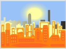 De silhouetten van de stad Stock Fotografie