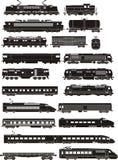 De silhouetten van de trein stock illustratie