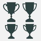 De silhouetten van de trofeekop in vier varianten Stock Afbeeldingen