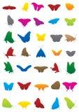 De silhouetten van de vlinder Stock Afbeelding