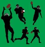 De silhouetten van de voetbalster. vector illustratie