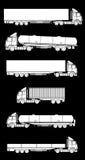 De silhouetten van de vrachtwagen Stock Afbeelding