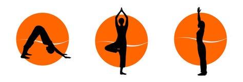 De silhouetten van de yoga Royalty-vrije Stock Afbeeldingen