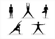 De silhouetten van de yoga royalty-vrije illustratie