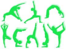 Yogasilhouetten stock foto