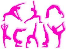 De silhouetten van de yoga Stock Afbeelding