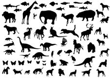 De silhouetten van dieren Stock Afbeelding