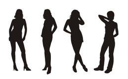 De silhouetten van Girlâs Royalty-vrije Stock Afbeelding