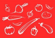 De silhouetten van groenten royalty-vrije illustratie