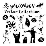 De Silhouetten van Halloween Stock Afbeeldingen
