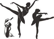 De Silhouetten van het ballet Stock Foto's