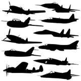 De silhouetten van het gevechtsvliegtuigen van de inzameling. Stock Fotografie