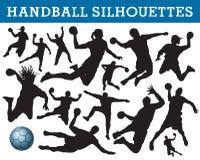De silhouetten van het handbal Stock Foto