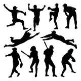 De silhouetten van het honkbal Royalty-vrije Stock Foto