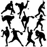 De silhouetten van het honkbal Stock Foto's