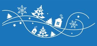 De silhouetten van het huis en van de sneeuwvlok Royalty-vrije Stock Foto's