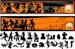 De Silhouetten van het Karakter van Halloween Royalty-vrije Stock Fotografie