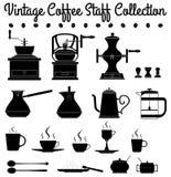 De silhouetten van het koffiepersoneel Stock Illustratie