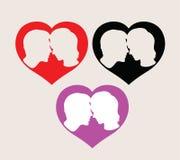 De Silhouetten van het liefdepaar, kunst vectorontwerp Stock Foto