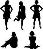 De silhouetten van het meisje Stock Afbeelding