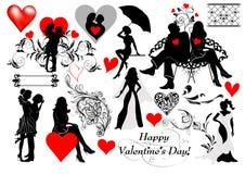De silhouetten van het paar die voor het ontwerp van de valentijnskaart worden geplaatst Stock Foto's