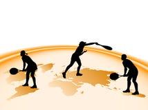 De silhouetten van het tennis Royalty-vrije Stock Foto's