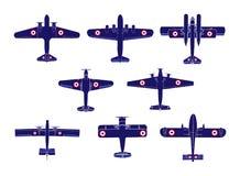 De silhouetten van het vliegtuig Royalty-vrije Stock Afbeeldingen
