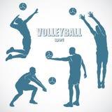 De silhouetten van het volleyball Stock Afbeelding