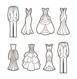 De silhouetten van de huwelijksbesnoeiing royalty-vrije illustratie