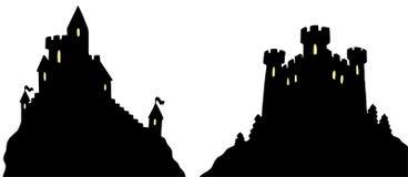 De silhouetten van kastelen Stock Foto's