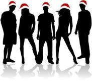 De Silhouetten van Kerstmis Stock Fotografie