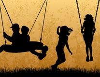 De Silhouetten van kinderen Stock Fotografie