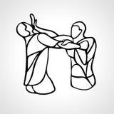 De silhouetten van Kravmaga Twee abstract vechterspictogram Royalty-vrije Stock Afbeelding