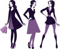 De silhouetten van maniermeisjes Stock Fotografie