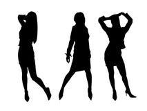 De silhouetten van meisjes Royalty-vrije Stock Foto's
