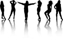 De silhouetten van meisjes stock afbeelding