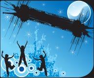 De silhouetten van meisjes op abstracte achtergrond Stock Foto's