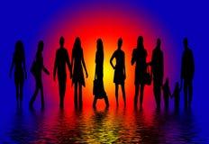 De Silhouetten van mensen Royalty-vrije Stock Afbeelding