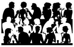 De silhouetten van mensen bij koffie Royalty-vrije Stock Foto's