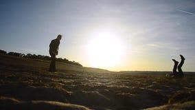 De silhouetten van mensen die voetbal op strand in de lente spelen, schoppen een voetbalbal, keepervangsten de bal stock footage