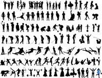 De silhouetten van mensen en van kinderen Stock Afbeeldingen