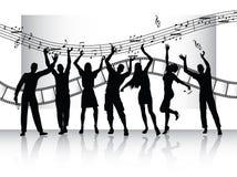 De silhouetten van mensen met filmstrook en muziek Royalty-vrije Stock Afbeelding