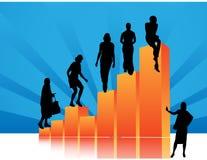 De silhouetten van mensen met statistiekengegevens Royalty-vrije Stock Afbeeldingen