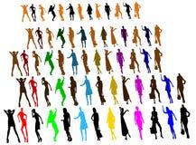 De silhouetten van mensen, vrouwen Stock Afbeeldingen